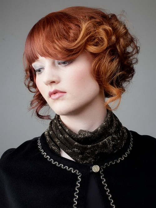 Curly Short Hairstyles with Bangs