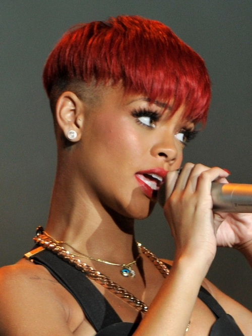 Short Red Hairstyles Rihanna
